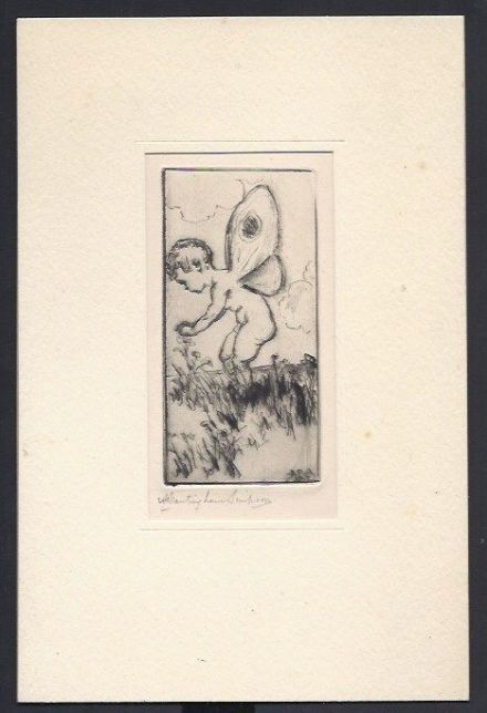 Alexander Brantingham Simpson Dry Point Drawing of a Putti & Flowers 1924
